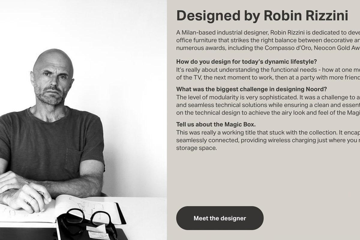 Screenshot of Civil's Meet the Designer section