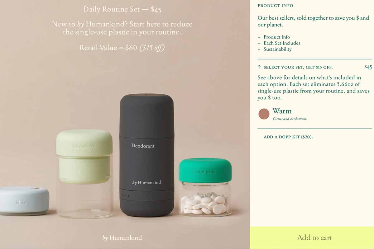 Screenshot of a By Humankind product page