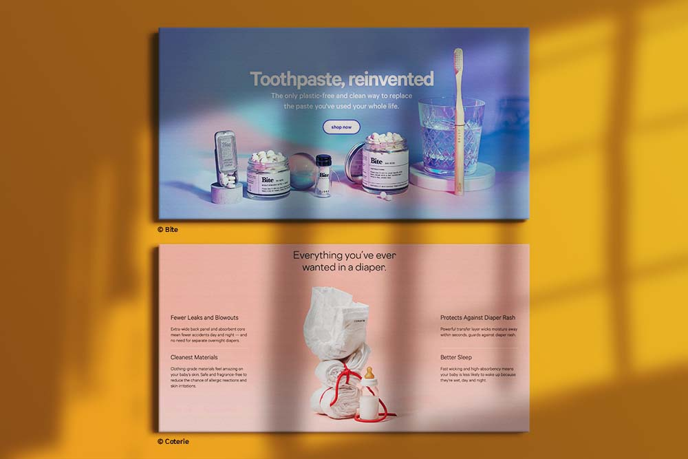 Screenshots of the top sections of homepages for Bite Toothpaste Bits & Coterie diapers