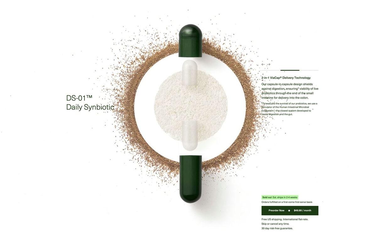 Screenshot showing Seed's probiotic capsule opened up
