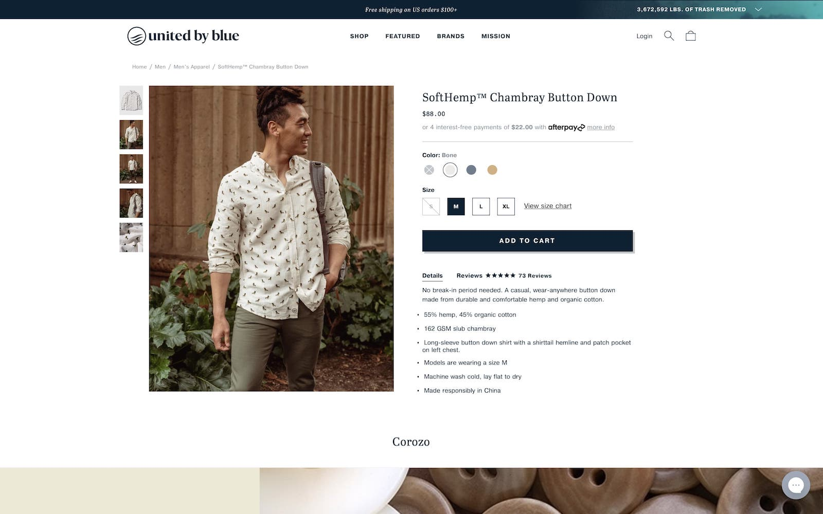 screenshot of united by blue mens shirt product page