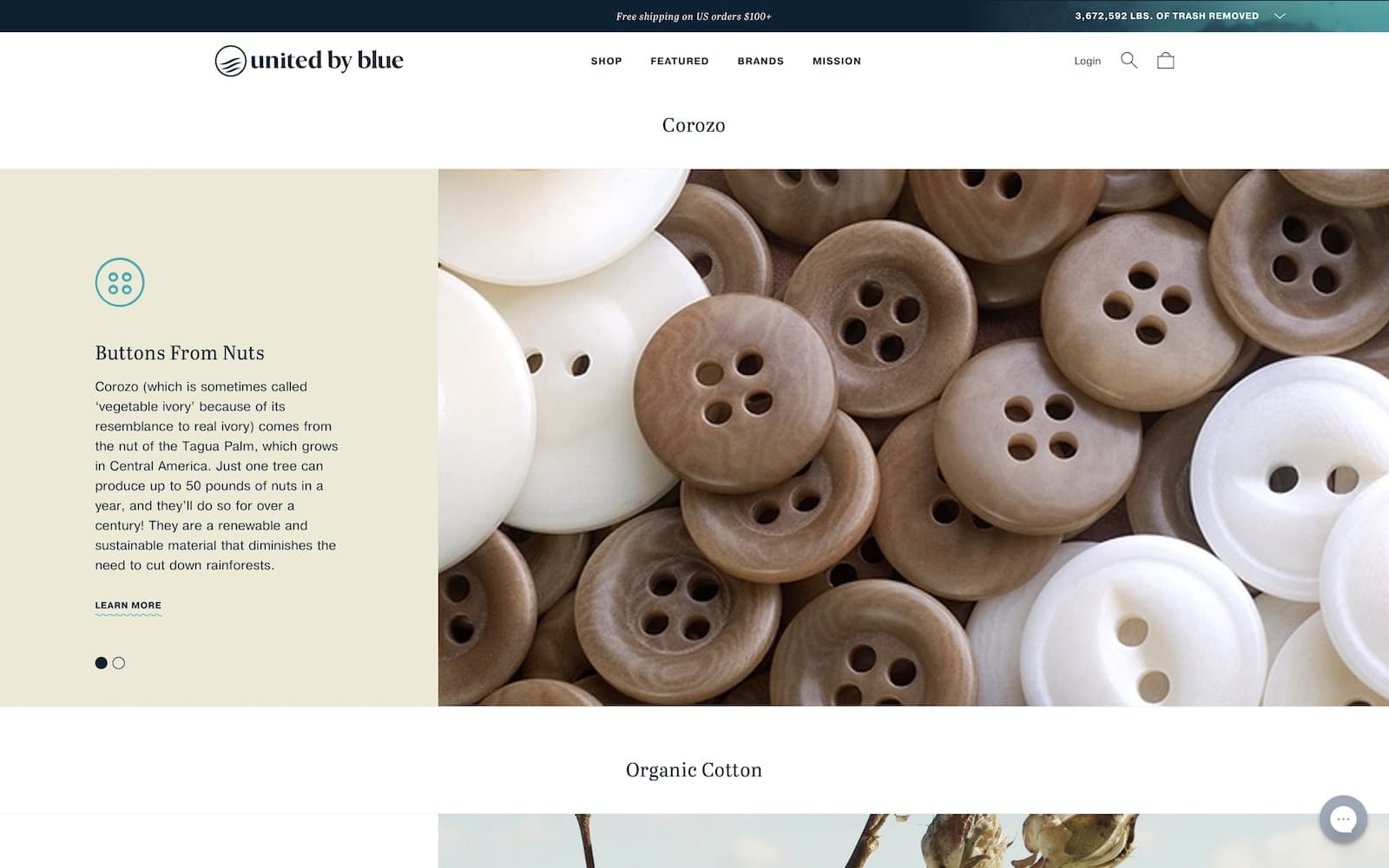 screenshot of united by blue tree nut buttons section