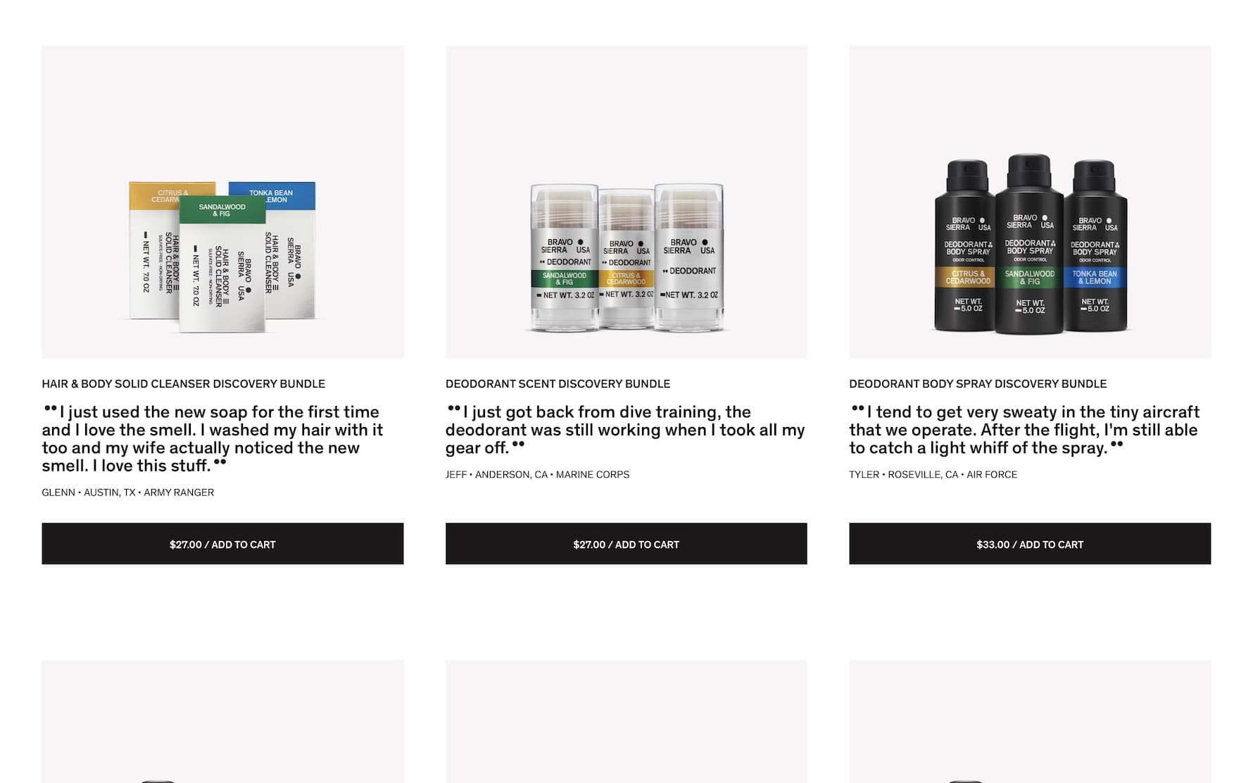 Bravo Sierra homepage product card array