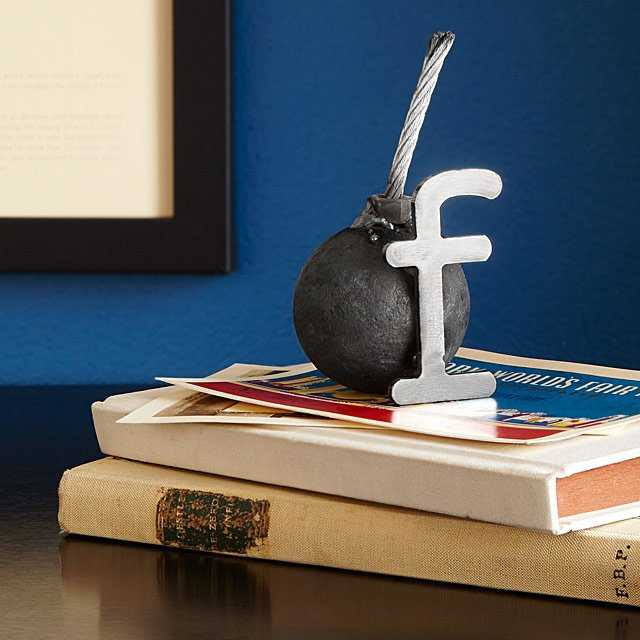 Need unusual desk organization ideas? A funny paper weight is a good place to start!