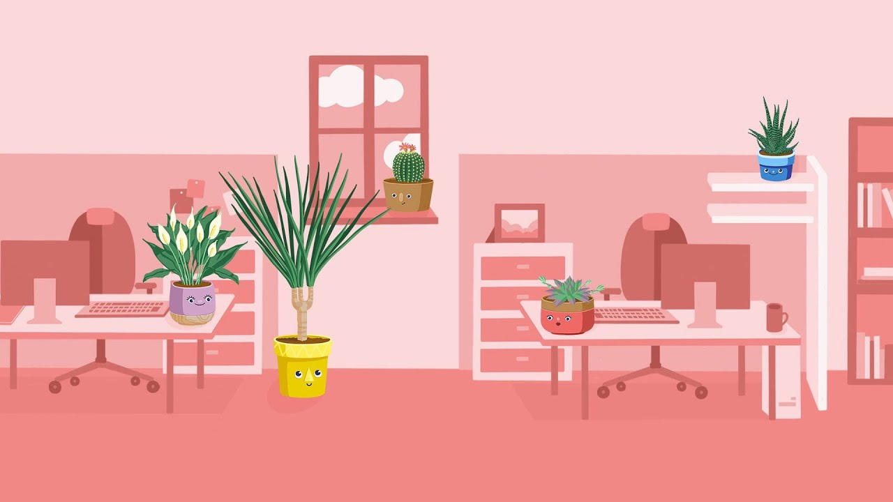 Animated office with plants set in different parts of the workplace.