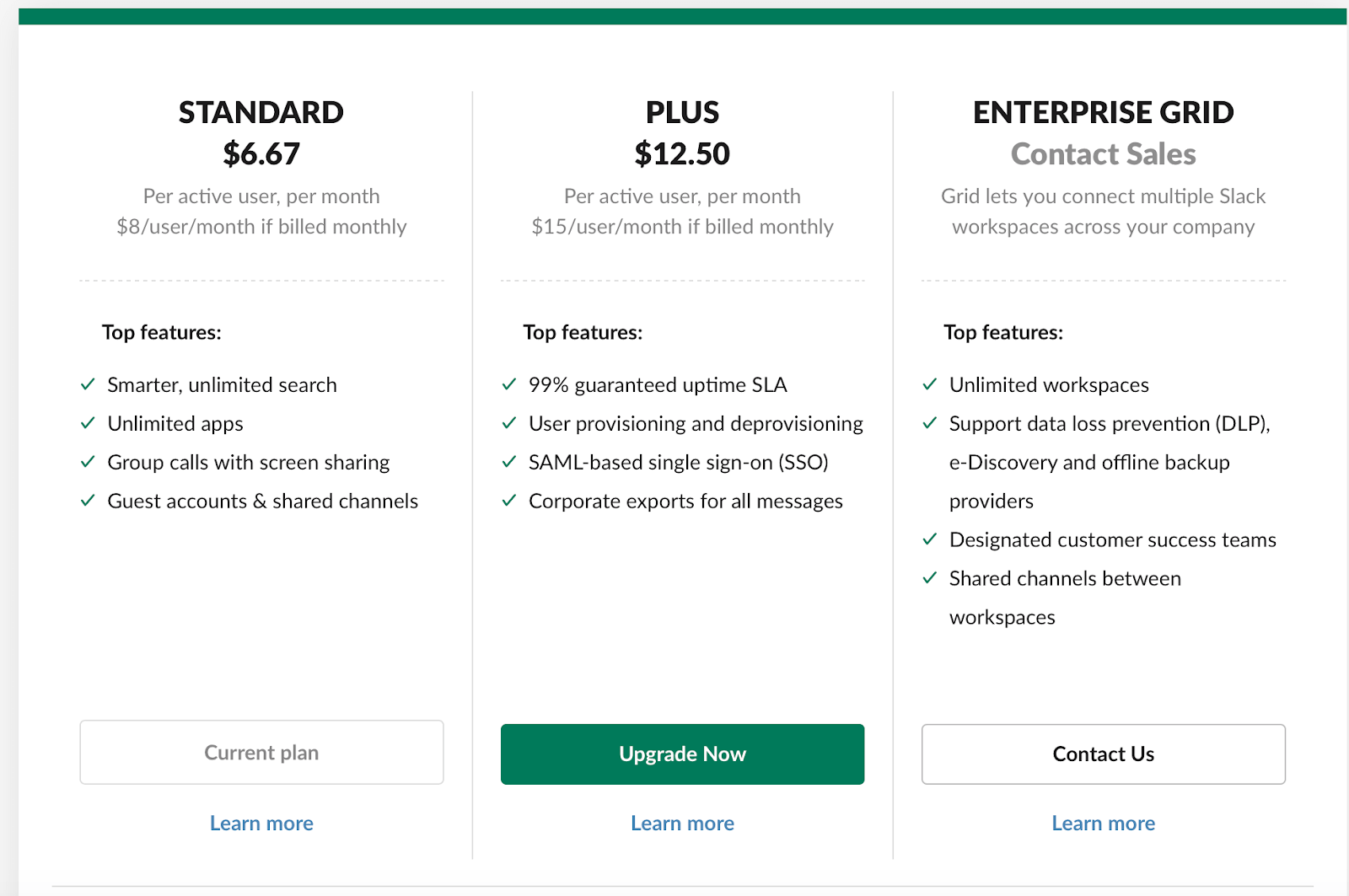 Slack paid team communication plas include the Standard Plan at $6.67 per user, the Plus plan at $12.50 per user and the Enterprise plan