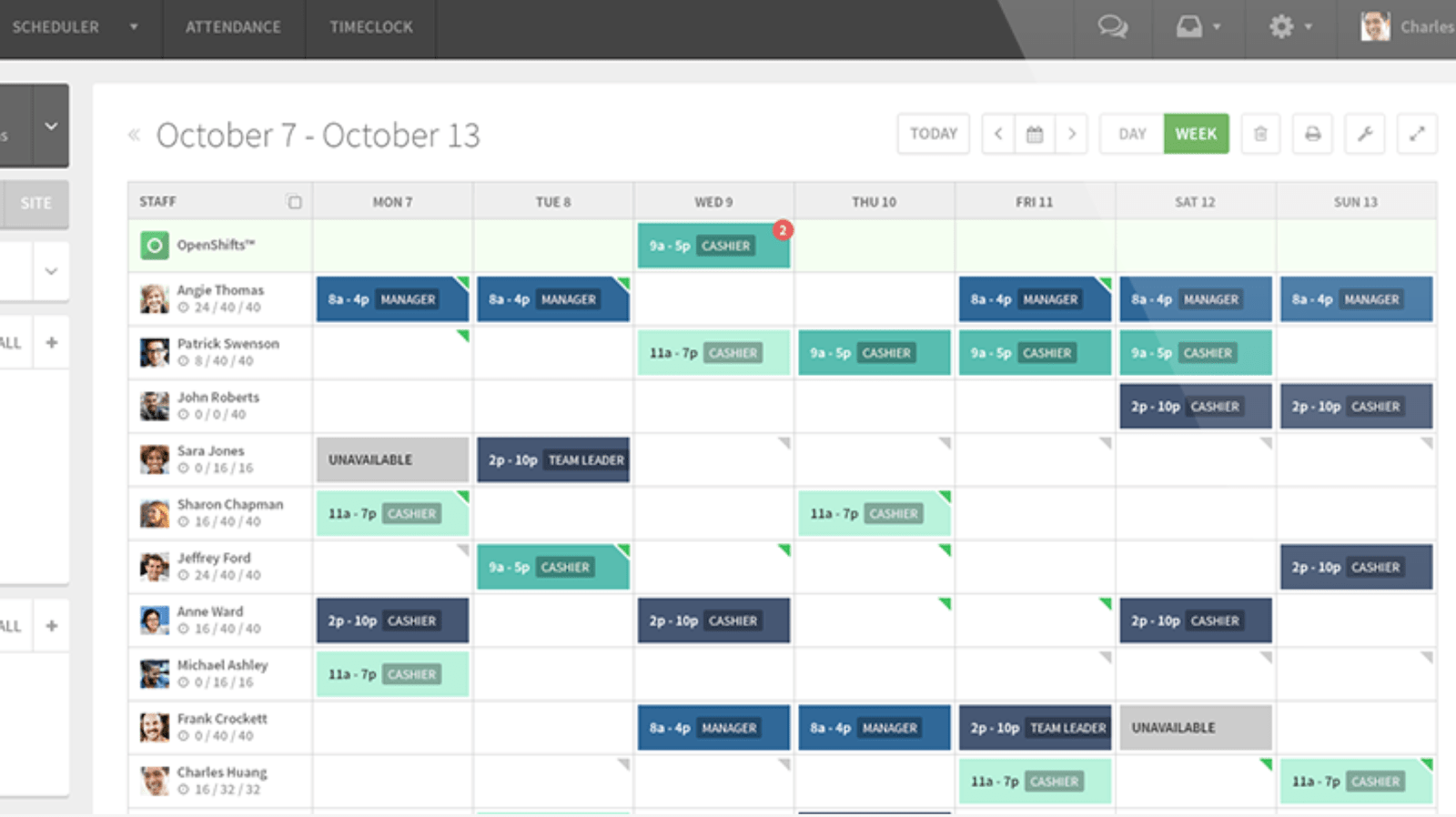 Screenshot of wheniwork calendar