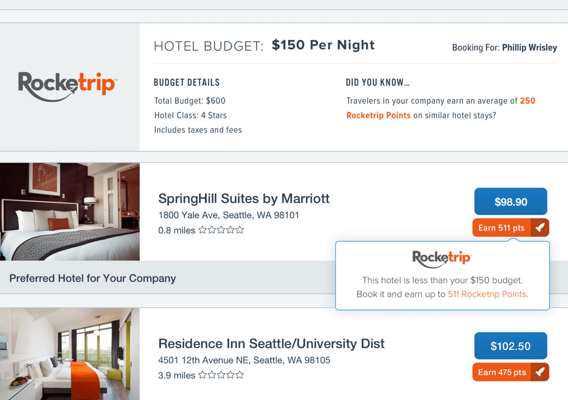 Rocketrip user interface for corporate travel management
