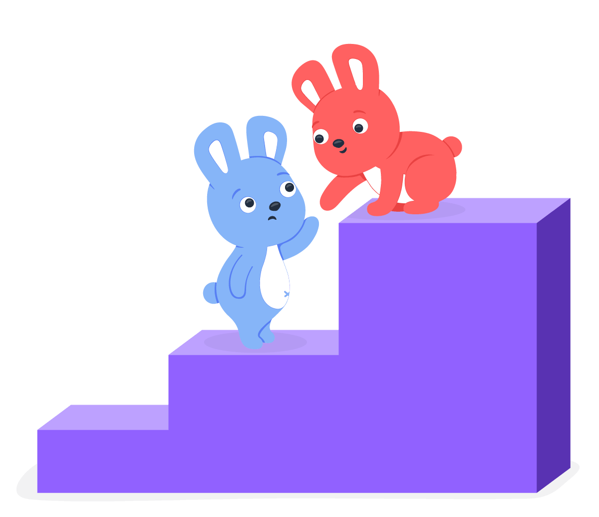 One hoppy bunny helping another Hoppy bunny climb up stairs and help advance their career