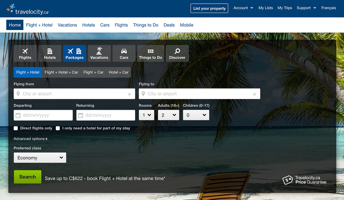 Travelocity interface that helps you book travel for a corporate retreat