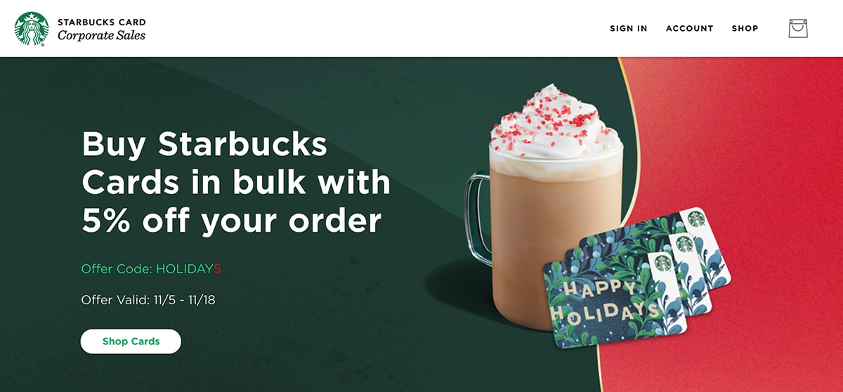 Starbucks gift cards in bulk as gift ideas for an office holiday party.