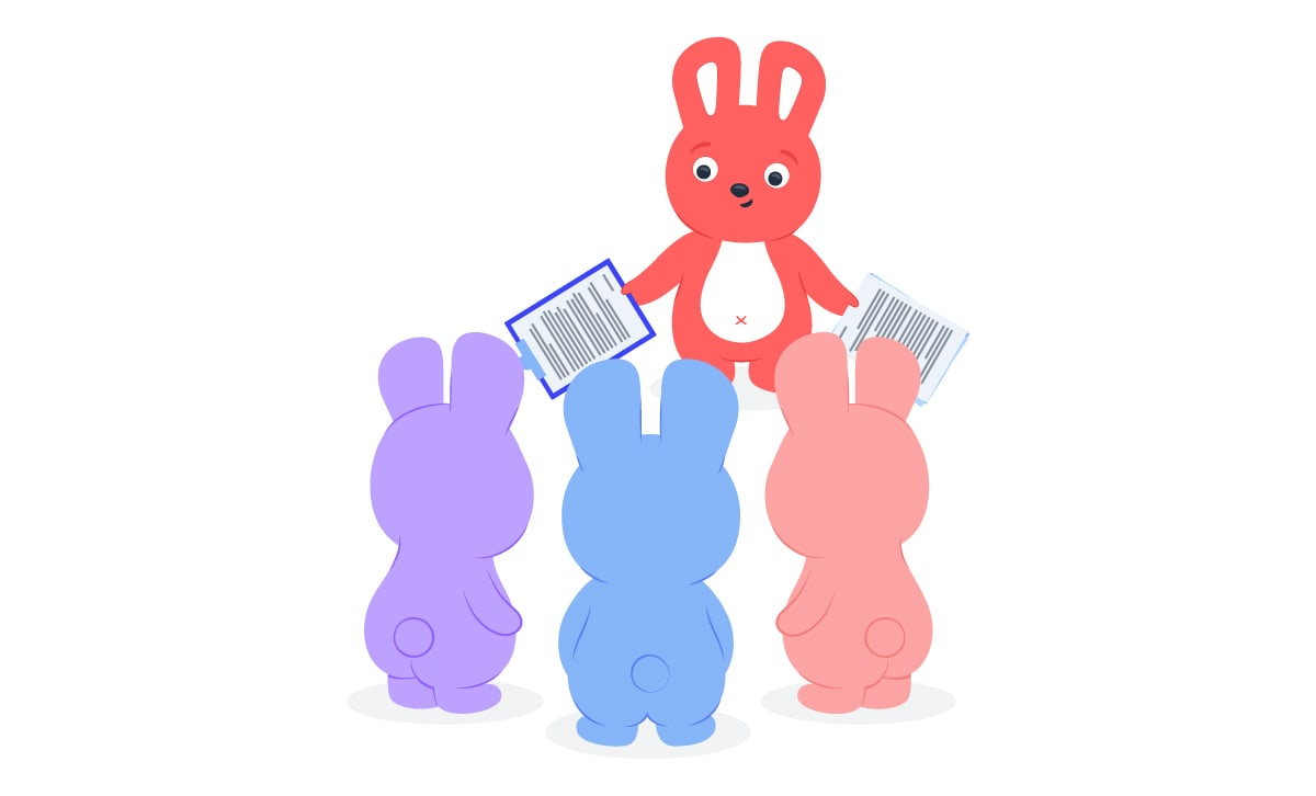 Hoppy bunny handing out assignments to three other Hoppys to delegate tasks