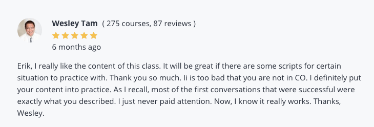 Positive user review of the office manager training course for communication.