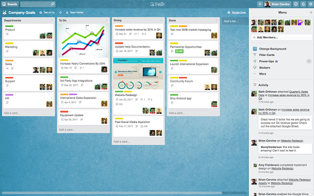 Trello office management software uses digital a Kanban template to plan and manage an office party
