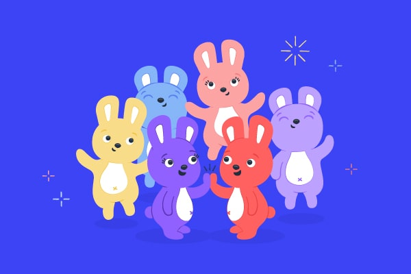 hoppy and friends celebrating finishing work by hi-fiving  and jumping