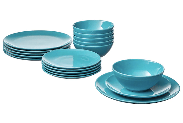 Set of blue plates and bowls from Ikea to keep in the office kitchen.