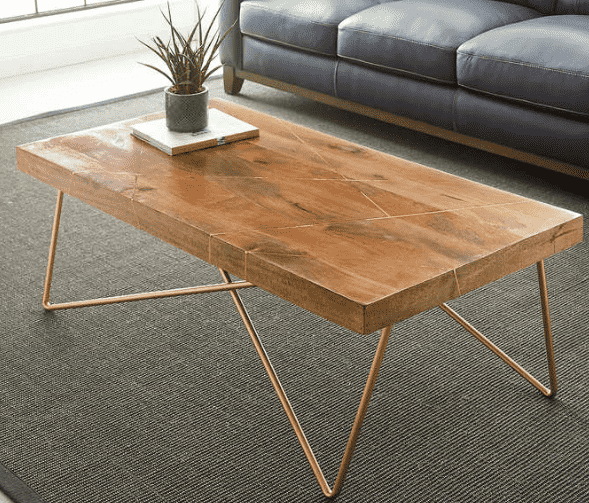 Wooden coffee table with metallic legs and a cactus on top.