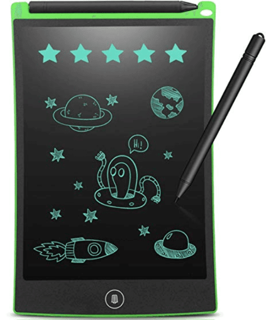 Glowing rawing board with a pen beside it and images of stars, planets, an alien and a space ship
