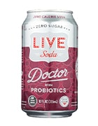 Can of soda with probiotics by LIVE soda