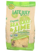 Bag of Late July Snacks Organic Sea Salt and Lime Restaurant Style Tortilla Chips