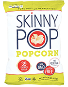 Bag of Skinny pop popcorn. This vegan snack has 39 calories per cup.