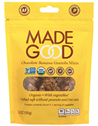 Bag of Made Good chocolate banana granola minis. This vegan snack is organic and contains vegetables.