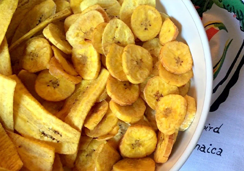 Bowl of plantain veggie chips