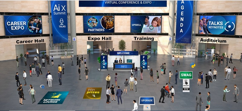 A screenshot of the Open Data Science Conference 2020 which depicts a virtual event lobby