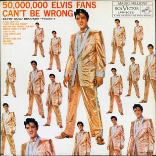 A picture of Elvis' Gold Records Vol. 2 with the famous 50,000,000 Elvis Fans Can't Be Wrong Jacket