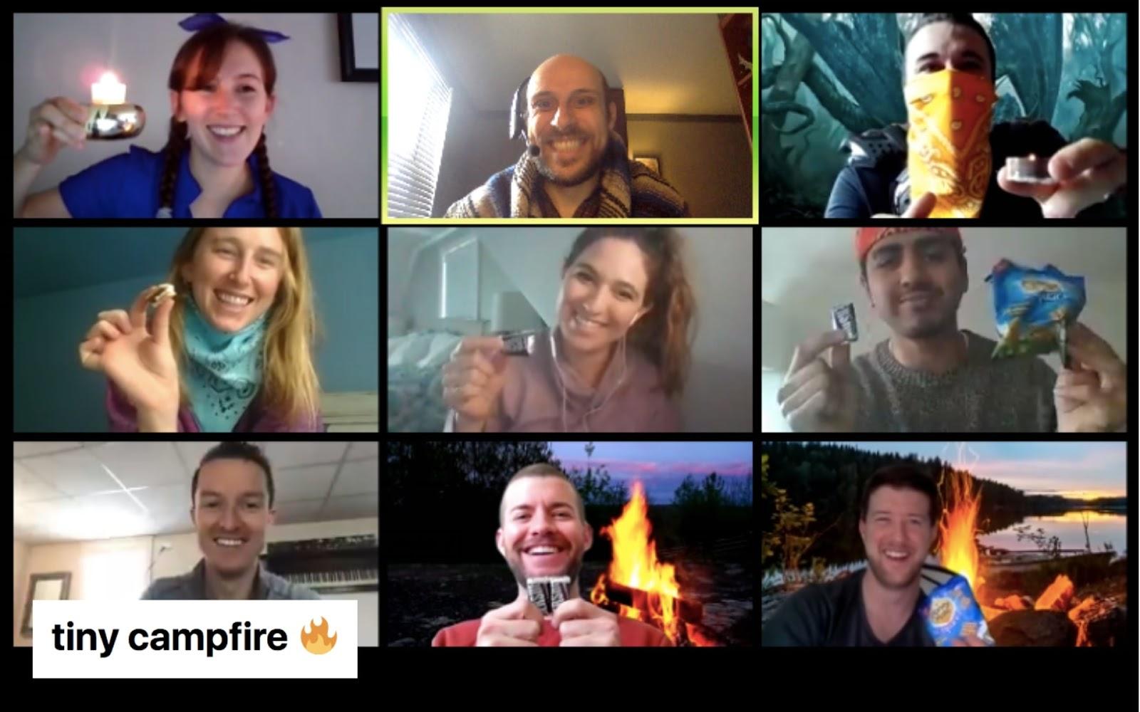 A screenshot of participants in a virtual campfire