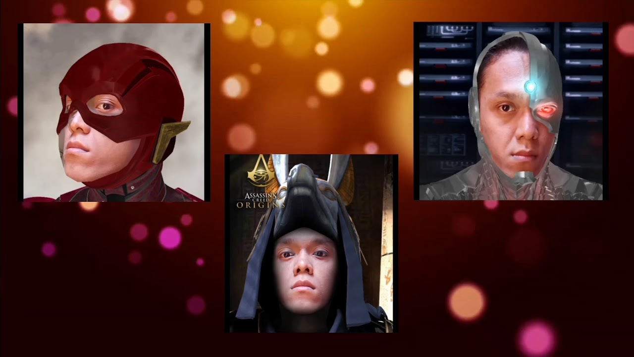 A screenshot of three people cosplaying online with superhero costumes