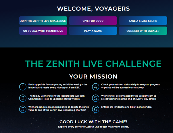Part 1 of 3: A screenshot of Zenith Live's gamification screen