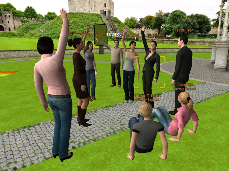 A screenshot of a virtual 3D networking space with participants as avatars