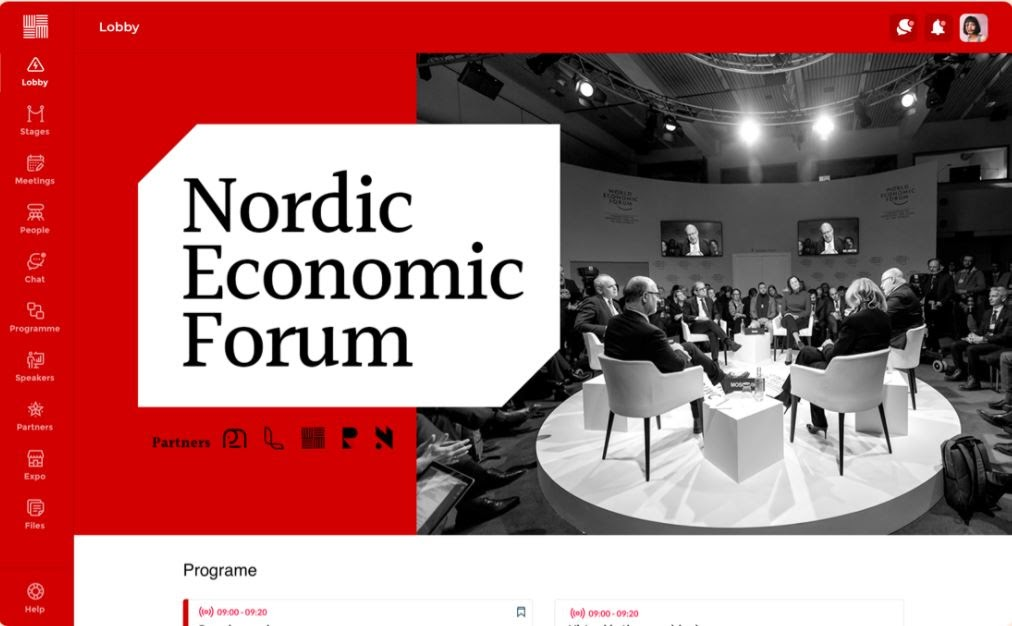 A product screen from Tame's platform showing the homepage of an economic forum for European leaders
