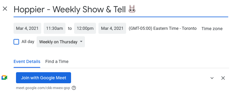 A screenshot of a calendar schedule for a weekly show and tell activity