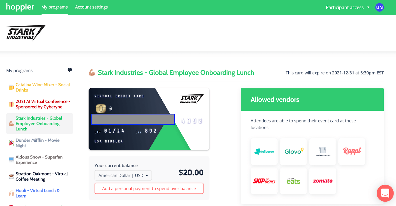 A screenshot of Hoppier card for onboarding lunch