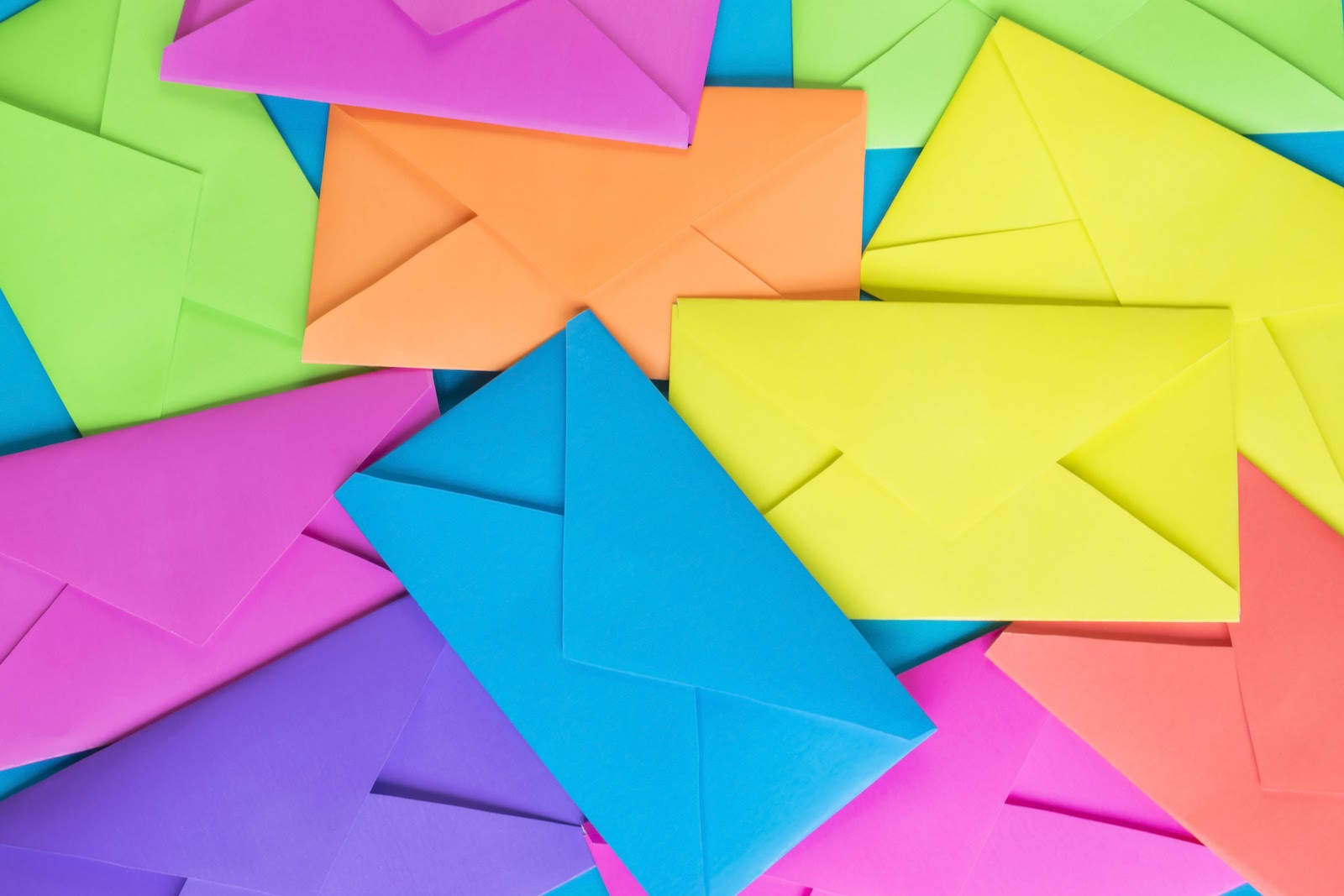 Colorful envelopes represent email for event marketing