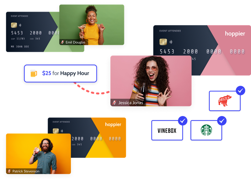 Hoppier virtual credit cards for covering the cost of employee drinks for a virtual happy hour