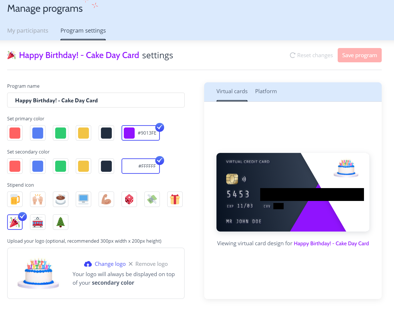 A Hoppier corporate gifting virtual credit card designed with company colors and a logo