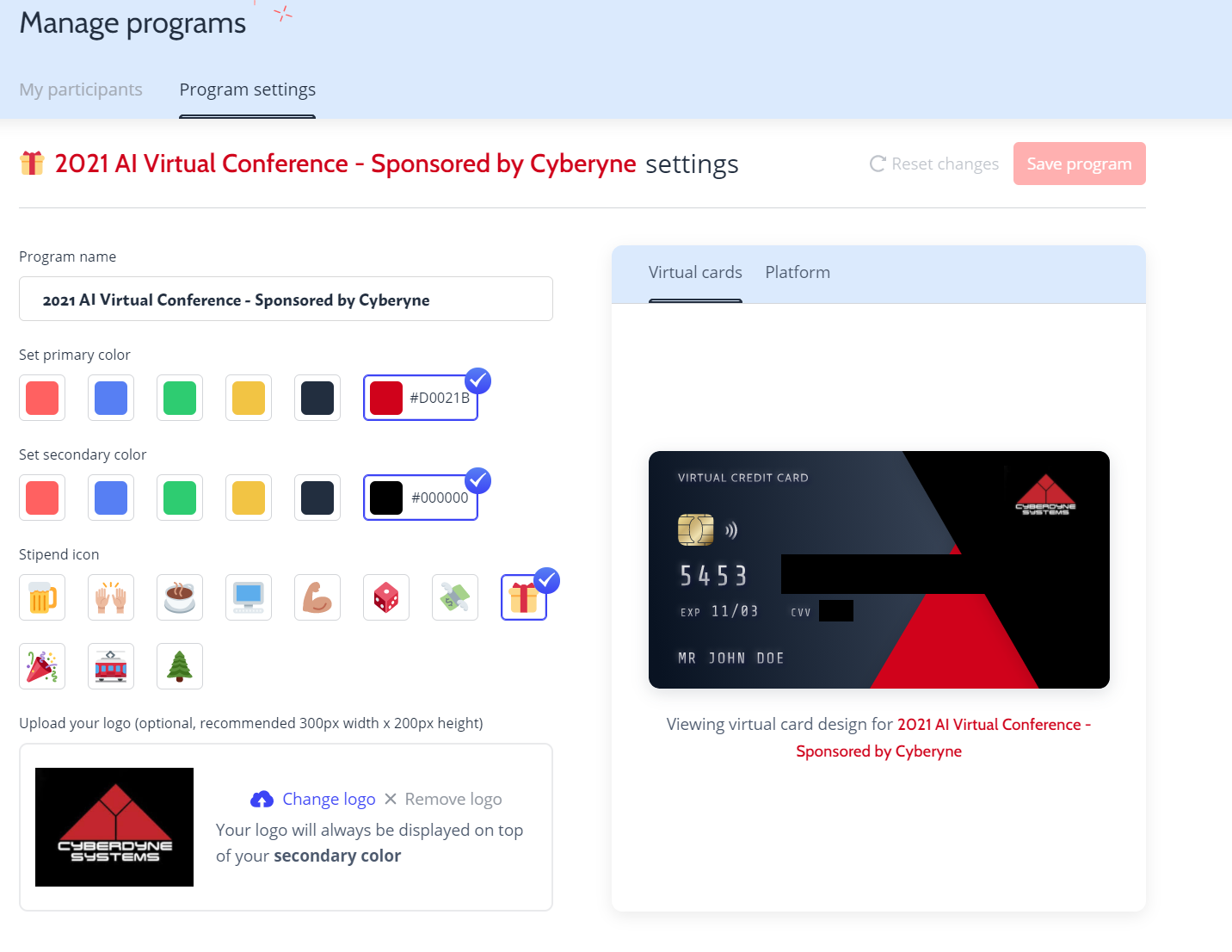 How to personalize a virtual spending card as part of your corporate event planning