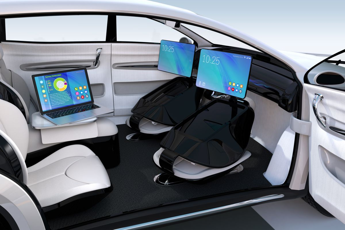 interior of a self driving car concept