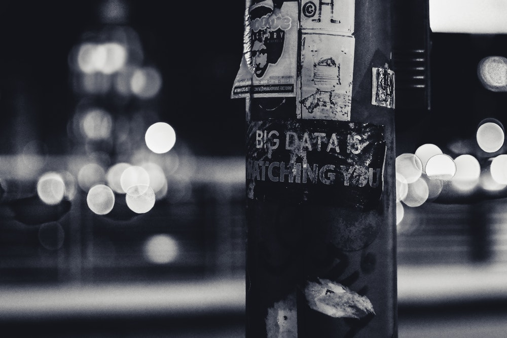 Big Data is watching you poster on a pole