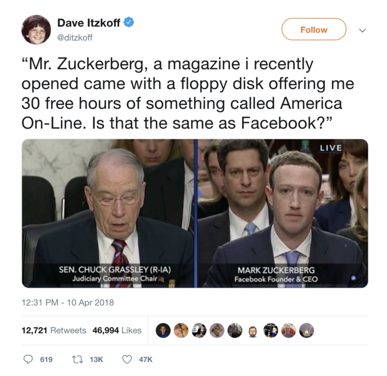 Mark Zuckerberg testifying in front of Congress AOL meme