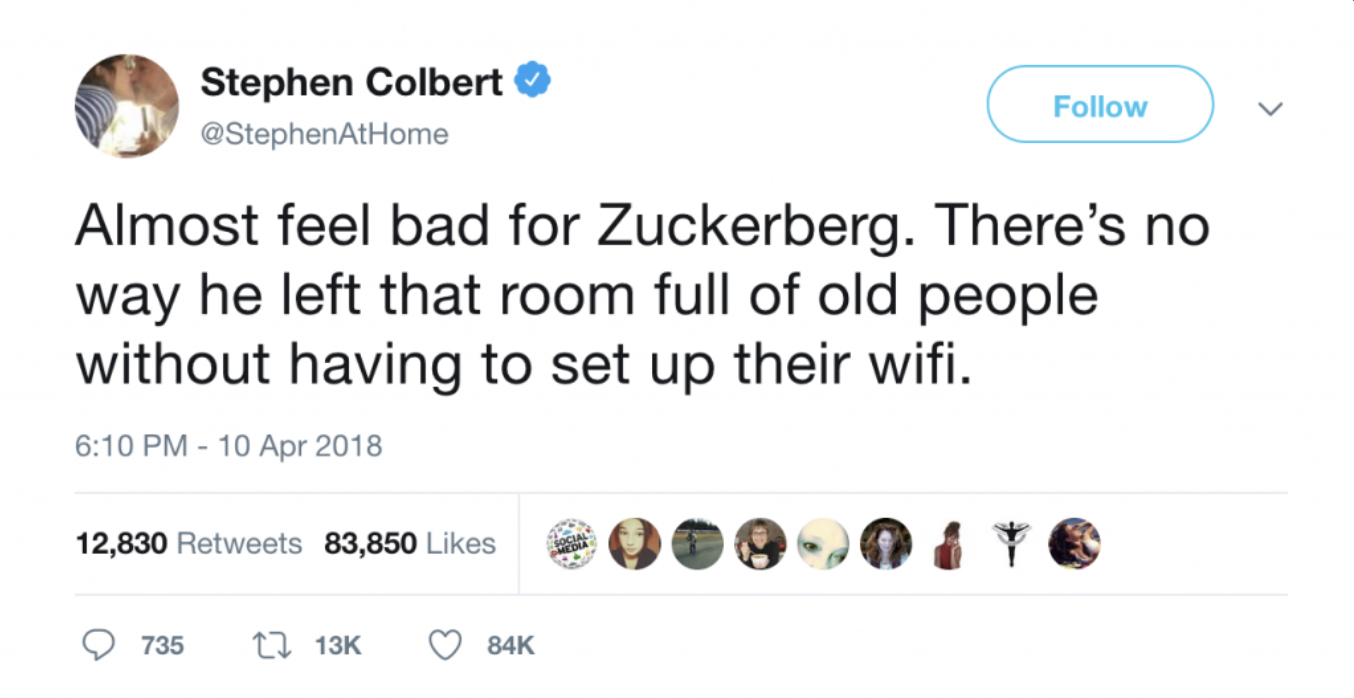 Stephen Colbert tweet about Mark Zuckerberg setting up WiFi for Congress