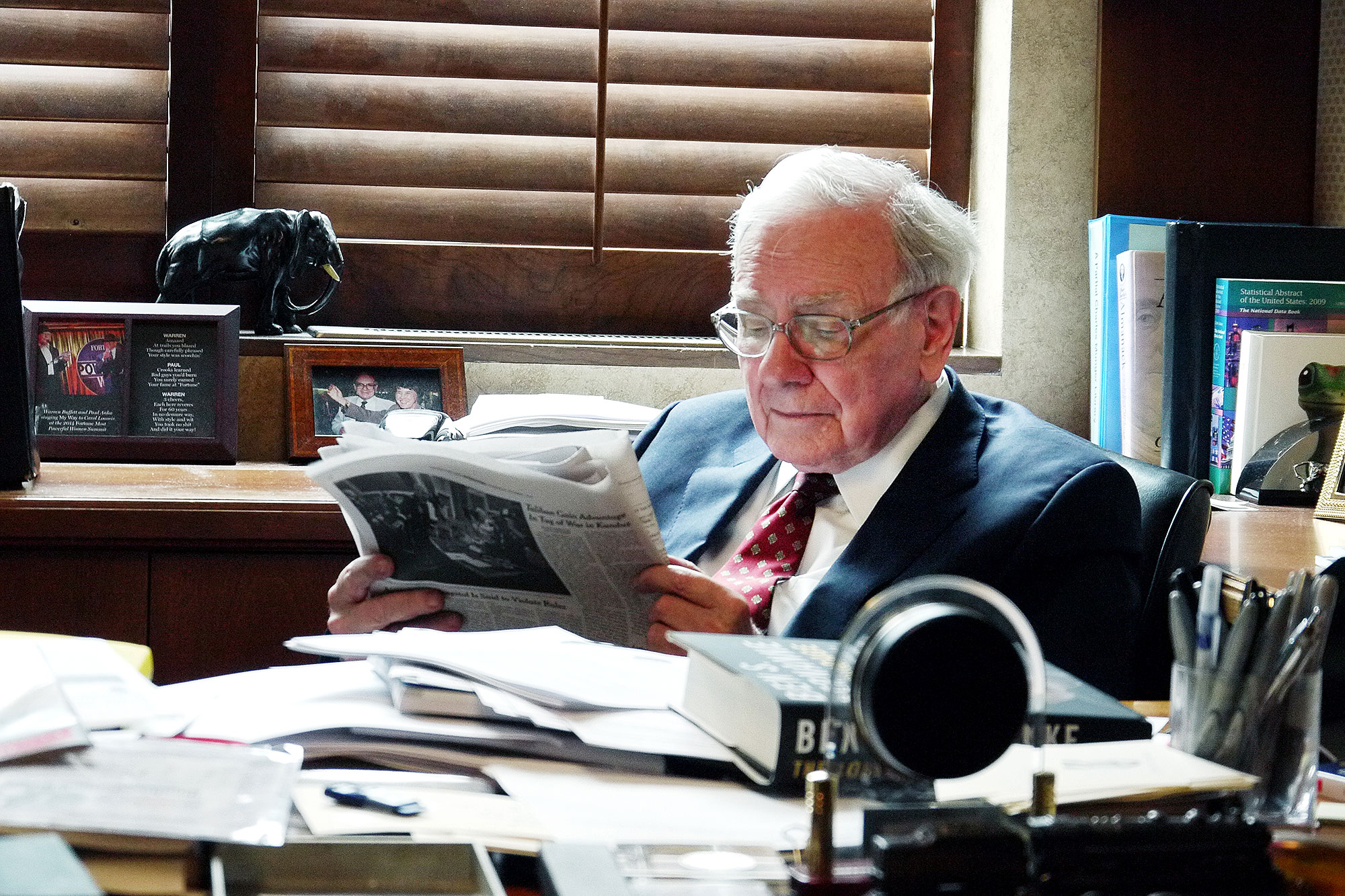 Warren Buffett reading in his office