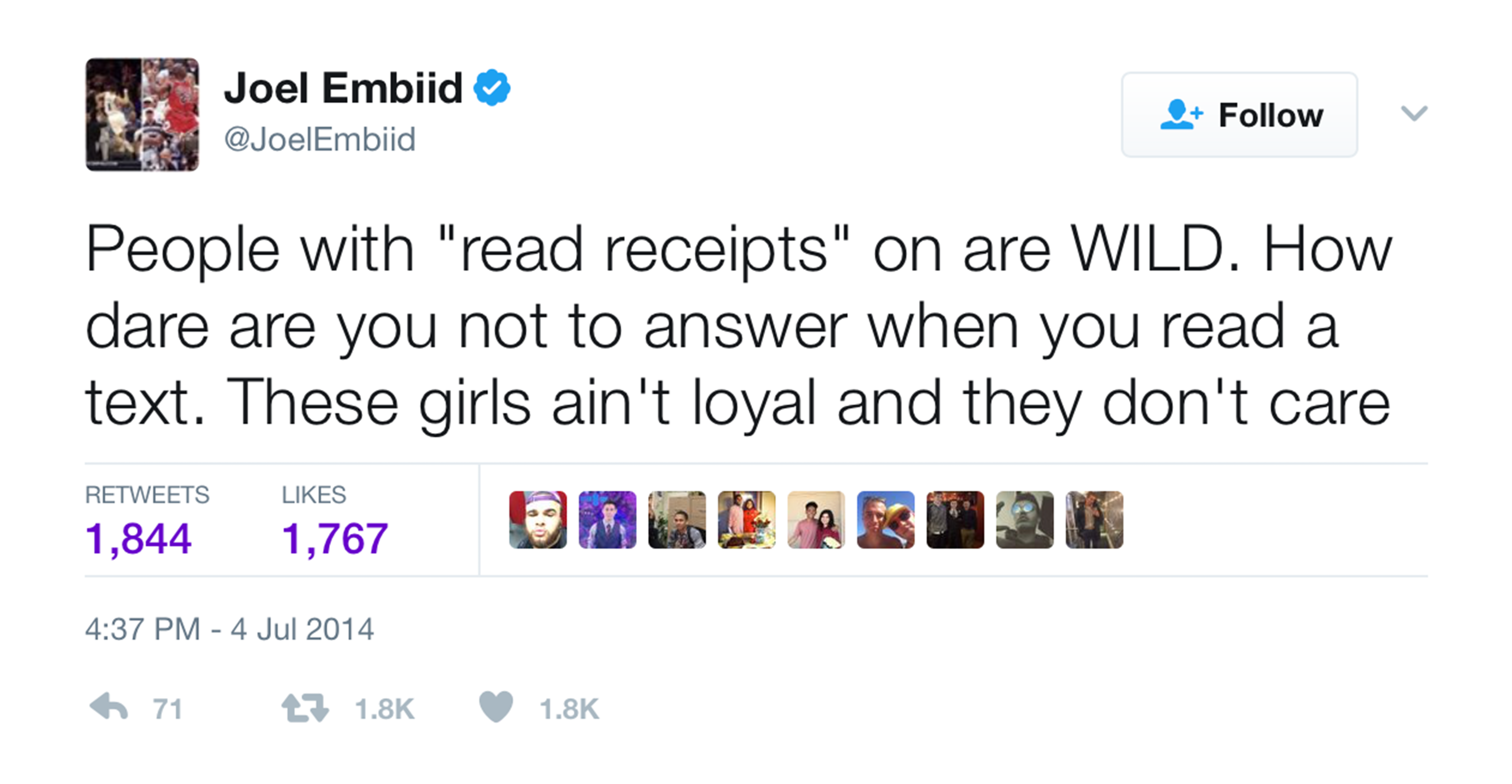 Joel Embiid tweet about girls who don't answer with read receipts turned on
