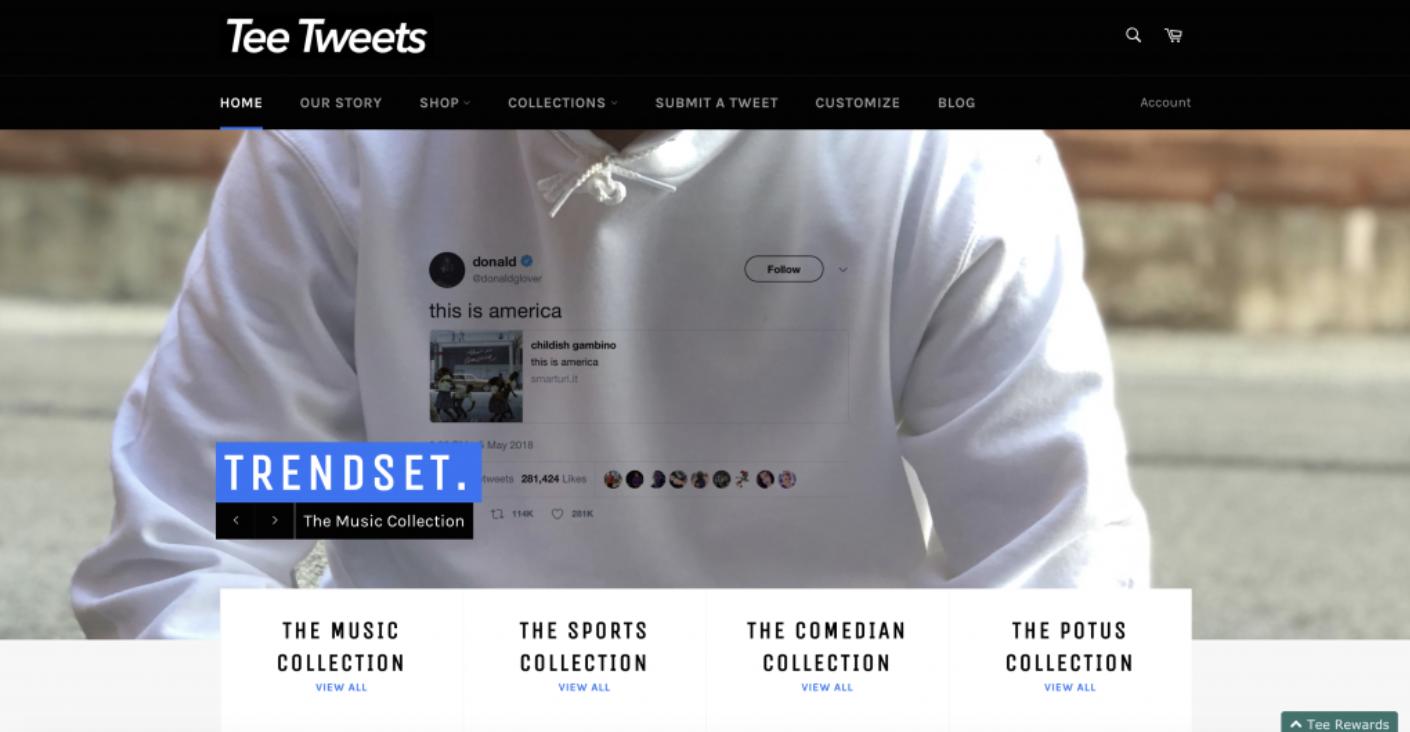 Tee Tweets homepage