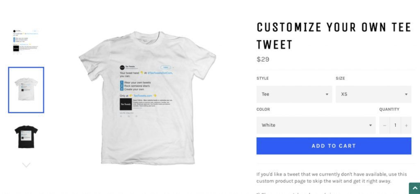 Screenshot of Tee Tweets custom t-shirt product page