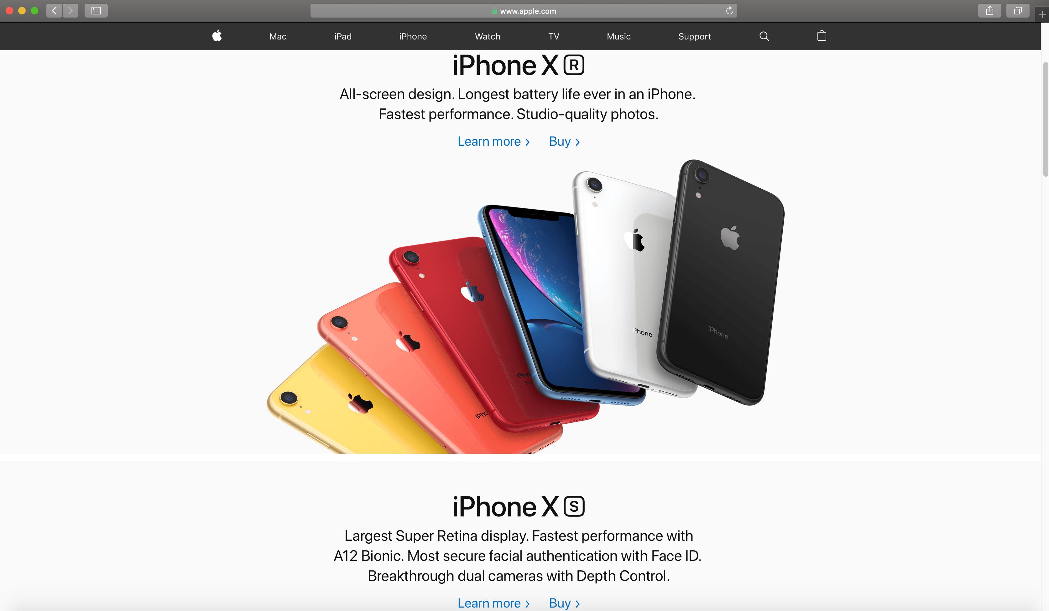 Apple.com homepage on Safari browser