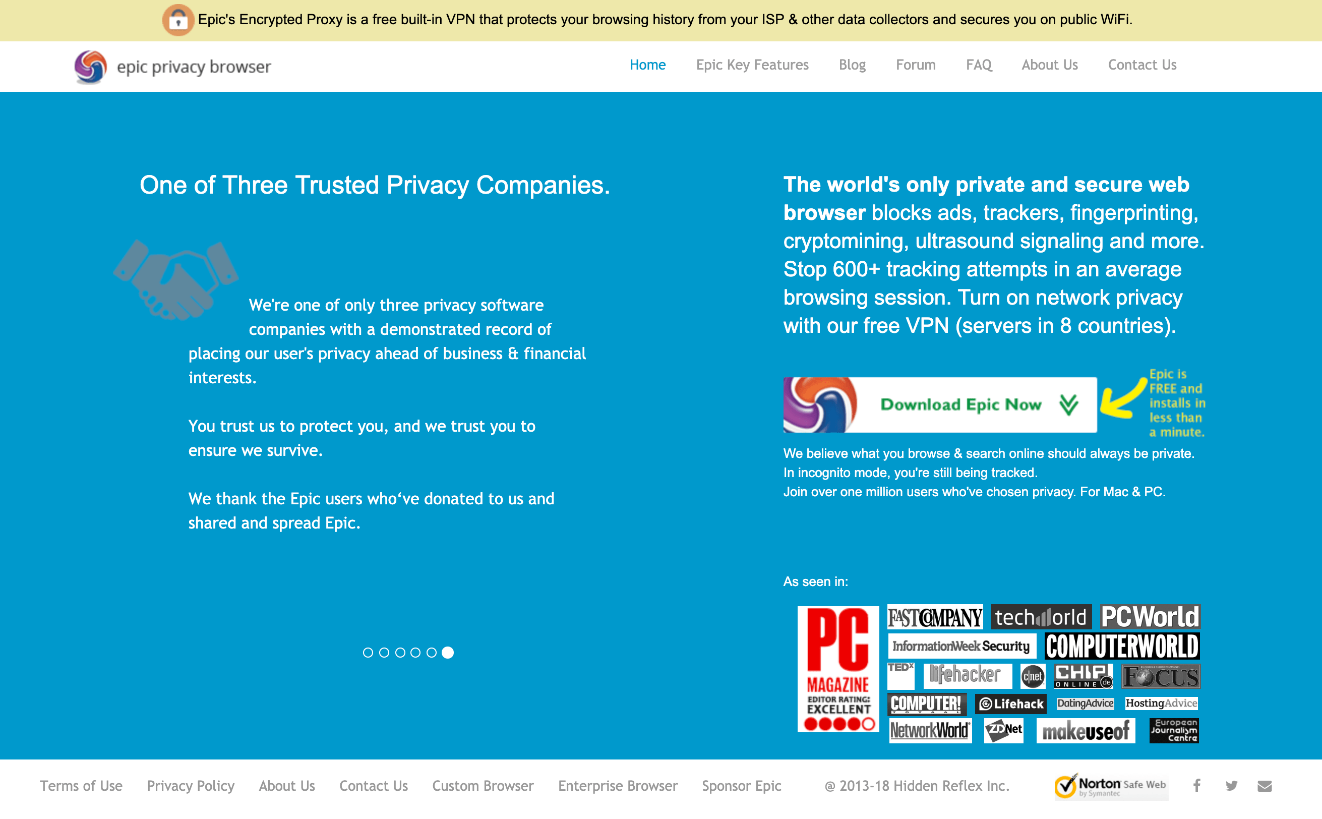 Epic privacy browser homepage